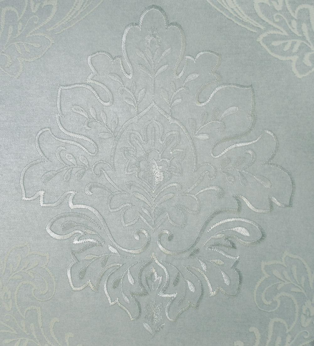 +FINOの壁紙 E443 刺繍/ダマスク柄/ブルー